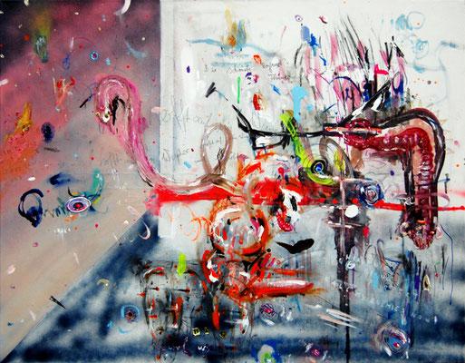 AM ENDE GEHT IHR GEMEINSAM SWINGERN, 2011, mixed media on canvas, 70x90cm