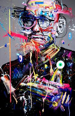 MARC JUNG X MARCO FISCHER // Peter Lohmeyer POTTWEILER, 2017, mixed media on canvas, 115x75cm