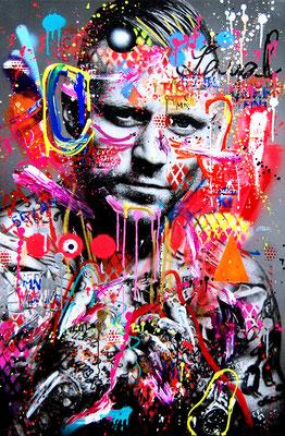 MARC JUNG X MARCO FISCHER // KONTRA K DER LETZTE WOLF, 2019, mixed media on canvas, 115x75cm