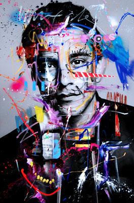 MARC JUNG X MARCO FISCHER // Kostja Ullmann ROSÉ KAVALIER, 2017, mixed media on canvas, 115x75cm