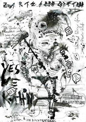 EIN HERZ FÜR DIE PILLE DANACH, 2015, mixed media on paper, 29,7x21cm