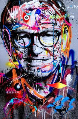 MARC JUNG X MARCO FISCHER // Ewald Lienen DER OBERSCHENKEL DER NATION, 2017, mixed media on canvas, 115x75cm