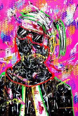 JAMMERLAPPEN BEWEGEN NICHTS SELBSTMITLEID IST OUT, 2019, mixed media on canvas, 150x100cm