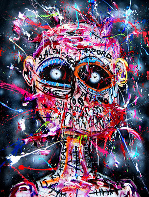 FICK DEINE INTEGRATION, 2018, mixed media on canvas, 120x90cm