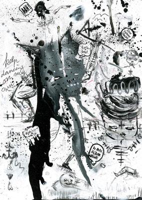 STERBEN IST EIN DURSTMACHER, 2015, mixed media on paper, 29,7x21cm