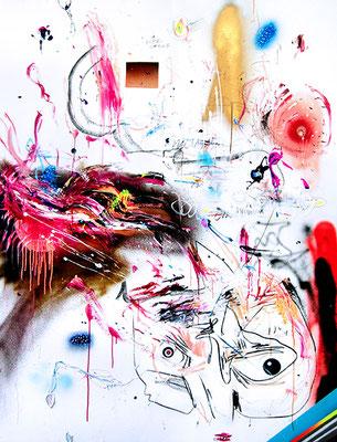 MAN MUSS SICH MIT DER KRANKHEIT ANFREUNDEN, 2015, mixed media on canvas, 200x150cm