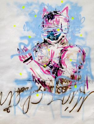 ICH KANN NICHT WEINEN WENN EIN ANDERER SIMULANT DABEI IST, 2009, mixed media on canvas, 200x150cm