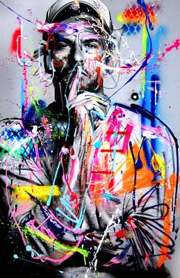 MARC JUNG X MARCO FISCHER // Stephan Luca LIVING LA VIDA LUCA, 2017, mixed media on canvas, 115x75cm