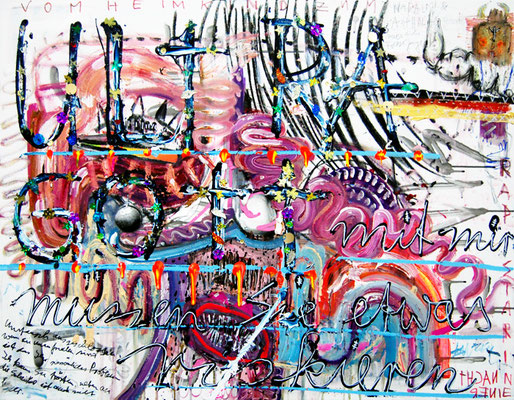 RENN BEVOR DU VERBRENNST, 2012, mixed media on canvas, 70x90cm