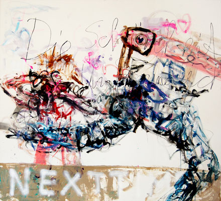 KEINE IGEL MEHR ZU KÄMMEN, 2010, mixed media on canvas, 150x135cm