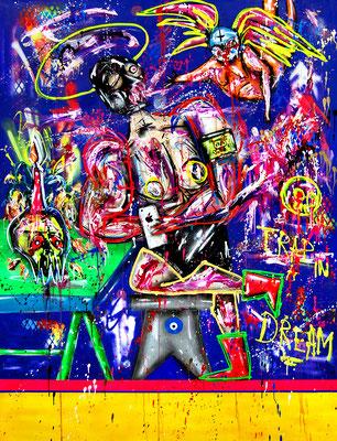 GOTT WEISS ICH WILL KEIN ENGEL SEIN, 2019, mixed media on canvas, 200x150cm