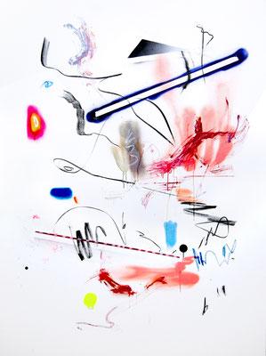 EINE MISCHUNG AUS NACHDENKLICH UND SCHLÄGEREI, 2016, mixed media on canvas, 200x150cm