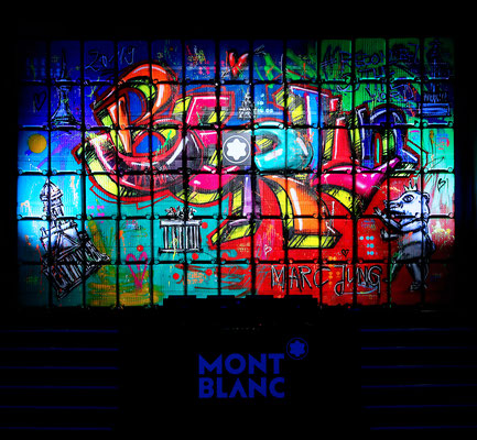 """MARC JUNG X MONTBLANC // """"WALLEY030"""", 2019, mixed media on trolley wall, 5x8m, Berlin"""