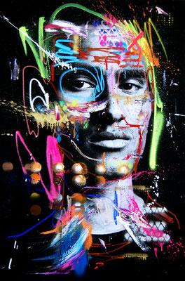 MARC JUNG X MARCO FISCHER // Maodo Lo SHOOTGUN, 2017, mixed media on canvas, 115x75cm