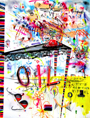 IT MIGHT SOUND DARK HELLISH AND GROUNDSHAKING, 2014, mixed media on canvas, 200x150cm