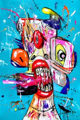 WHEN IT RAINS IT POURS, 2018, mixed media on canvas, 150x100cm