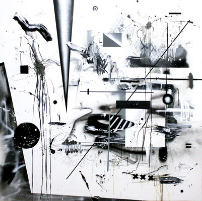 GROSSE FRESSE IM NETZ WIE WALFÄNGER, 2016, mixed media on canvas, 150x150cm