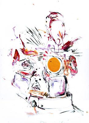 WENN ICH ALLEIN SEIN WILL SOLLTE ICH MEHR ZEIT MIT DIR VERBRINGEN, 2015, mixed media on canvas, 70x50cm