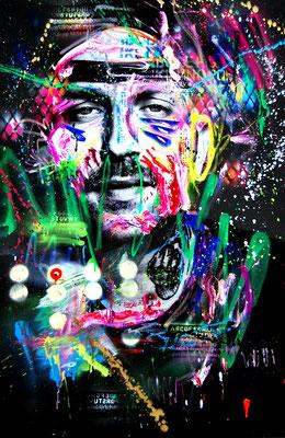 MARC JUNG X MARCO FISCHER // Plusmacher KING KONG KUSH, 2018, mixed media on canvas, 115x75cm