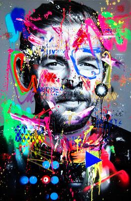 MARC JUNG X MARCO FISCHER // KLAAS HEUFER-UMLAUF THE FUNNY JOKO, 2019, mixed media on canvas, 115x75cm