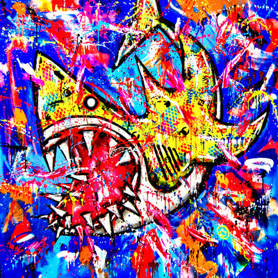 BIG DRIP, 2021, mixed media on canvas, 150x150cm