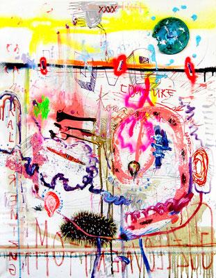 GESCHÜTTELT GEDRÜCKT BLAU ANGELAUFEN, 2013, mixed media on canvas, 90x70cm