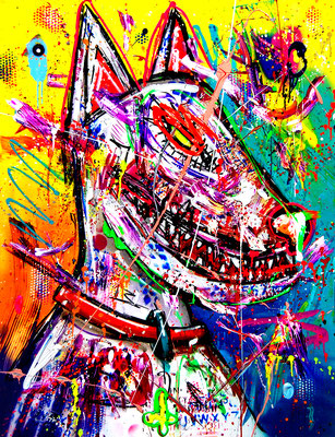 ICH BIN KILLER SEIT DEN KINDERSCHUHEN, 2019, mixed media on canvas, 120x90xm
