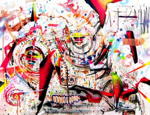 EUCH MENSCHEN WÜNSCHE ICH ALLES GUTE, 2012, mixed media on canvas, 70x90cm