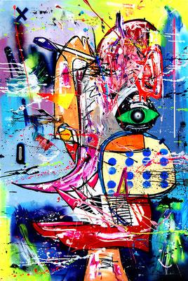 MIDNIGHTFANTASY, 2018, mixed media on canvas, 150x100cm