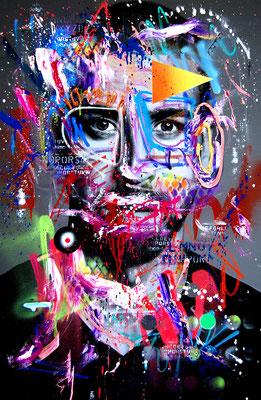 MARC JUNG X MARCO FISCHER // Sami Khedira BÜFFEL VON STUGGI, 2018, mixed media on canvas, 115x75cm