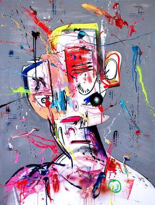 ICH TRINK NICHT MEHR ICH SAUFE SEIT JAHREN, 2017, mixed media on canvas, 120x90cm