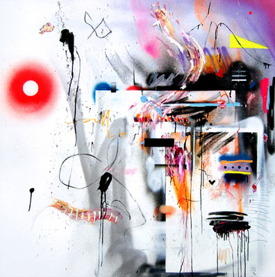 EMOTIONAL CLUSTERFUCK, 2015, mixed media on canvas, 140x140cm
