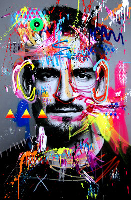 MARC JUNG X MARCO FISCHER // MATS HUMMELS AUSSENRISTGOTT, 2019, mixed media on canvas, 115x75cm