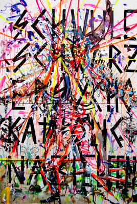 DEMOKRATIE IST NUR EIN TEIL DES WEGES DEN MAN BETRITT BIS MAN ZUM ERFOLG GELANGT, 2013, mixed media on canvas, 180x120cm