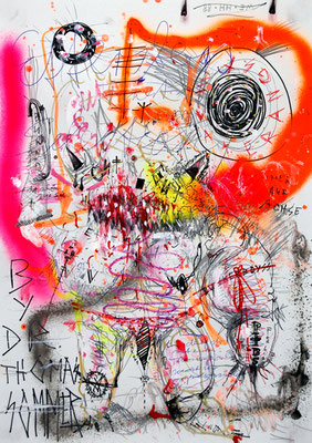PTBS BUNKERTOYBOY IN KINKY MISSION BEI DEN PRETTY FRONTSCHWEINEN, 2013, mixed media on paper, 42x29,7cm