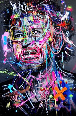 MARC JUNG X MARCO FISCHER // Wolfgang Niedecken 4711 WOLVERINE, 2017, mixed media on canvas, 150x100cm