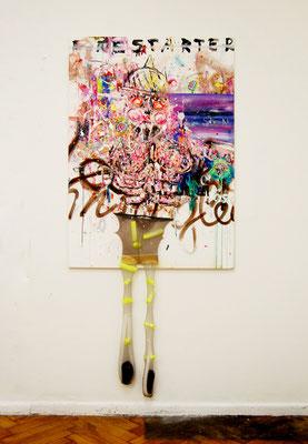 ICH MACH LOS JUNGS, 2010, mixed media on canvas, 140x100cm