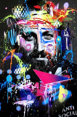 MARC JUNG X MARCO FISCHER // Paul Ripke RAPGOD, 2018, mixed media on canvas, 115x75cm