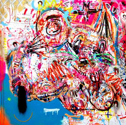 ES IST EIN GUTES LAND, 2013, mixed media on canvas, 100x100cm