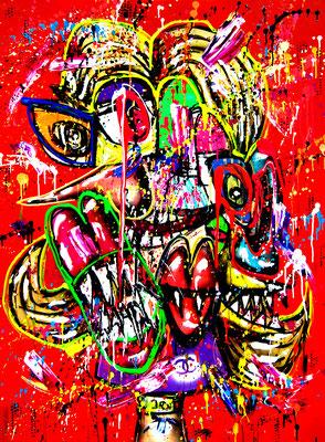 OHNE INSTA BIST DU GAR KEIN MODEL MEHR, 2019, mixed media on canvas 120x90cm