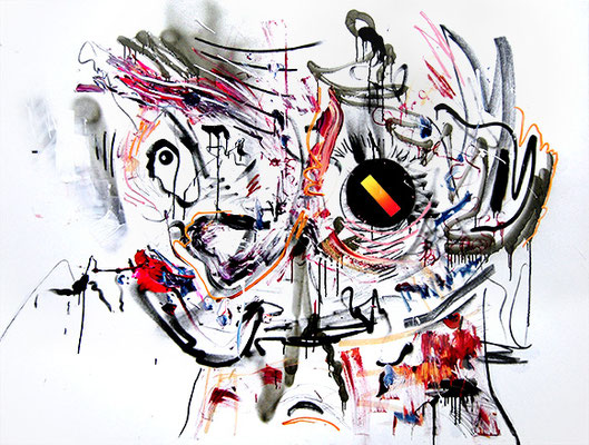 EIN GEMACHTER MANN WIE LILO WANDERS, 2015, mixed media on canvas, 150x200cm