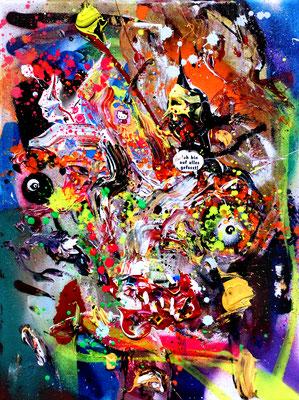 RECHTSSCHEISSESCHWÄCHE, 2016, mixed media on canvas, 40x30cm