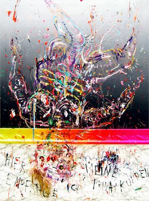 ALLES WIEDER GUT MR BITCHTFRESSE, 2012, mixed media on canvas, 200x150cm