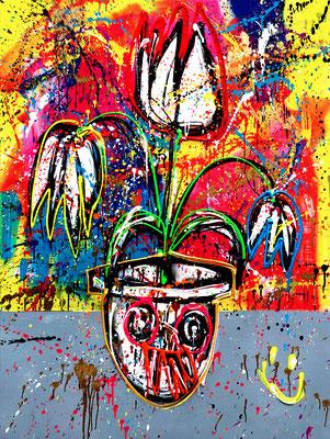 ACONITUM NAPELLUS,2021, mixed media on canvas, 120x90cm