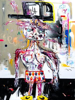 MEINE PLAYBOY MANSION WOLFSSCHANZE, 2015, mixed media on canvas, 120x90cm