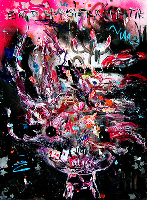 ICH GEH NUR KURZ KIPPEN HOLEN, 2015, mixed media on canvas, 70x50cm
