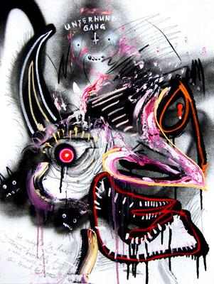 ARIGATO CUTE CERBERUS III, 2014, mixed media on canvas, 80x60cm