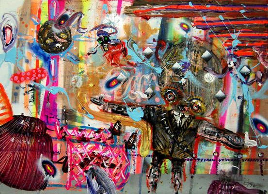 NUR DER RWE, 2012, mixed media on canvas, 50x70cm