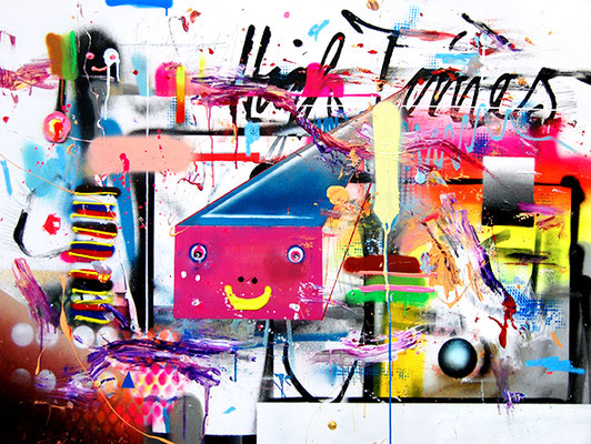 RITALIN BASQUIATOURETTE , 2015, mixed media on canvas, 90x120cm