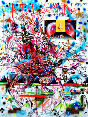 BRAUCHEN MORGENS SCHLAFTABLETTEN, 2014, mixed media on canvas, 200x150cm